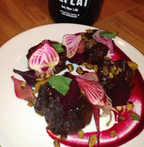 Nose to tail Smoked bison shanks with beets, pistachio and balsamico, paired with rich and dark but not sweet, Dive Bomb Porter